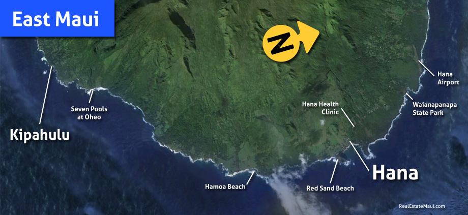 map of the east maui region