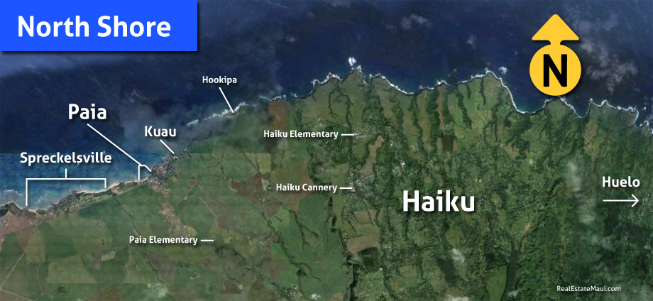 map of the north shore maui region